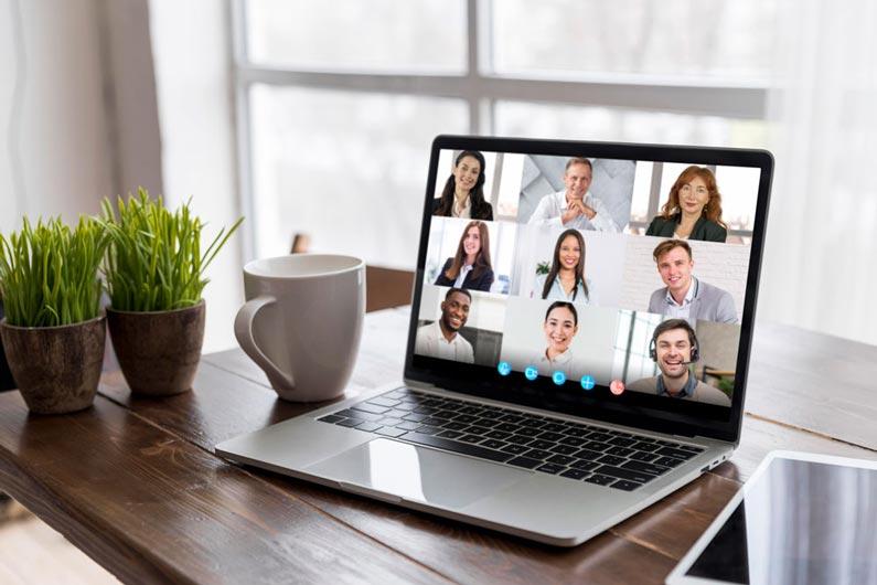 Happy Virtual Employees in Meeting